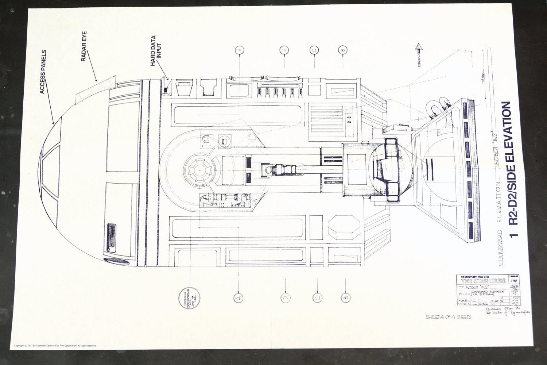 Vintage Star Wars Blueprint For R2 D2 Side Elevation 1