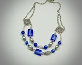 Two Strand Royal Blue Foil-lined Rectangle Glass Bead Necklace With Pink Swarovski Crystals and White Glass Pearls