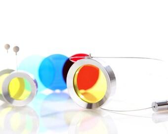 Iskin Pop Necklace - Acrylic - 5 interchangeable colors set - Contemporary Jewelry - Aluminium + Acrylic Necklace - Jewellery