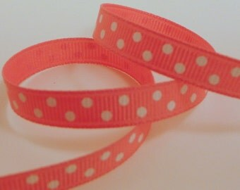 "3 Yards Bright Pink with White Polka Dot 3/8"" Ribbon"