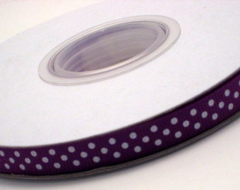 "3 Yards 3/8"" Purple With White Polka Dot Grosgrain Ribbon"