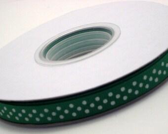 "3 Yards 3/8"" Emerald Green With White Polka Dot Grosgrain Ribbon"
