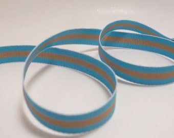 3 Yards Blue and Tan 3/8 inch Stripe Ribbon