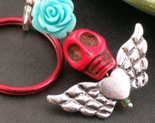Rockabilly Sugar Skull Pendant Keychain Day of the Dead Sugar Skull Pendant