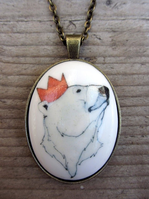Illustrated Party Polar Bear porcelain cameo pendant