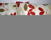 Set of 2: Red/olive green floral Throw pillow covers