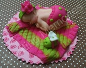 Baby Girl in Green and Pink DiaperShower, Birthday, Baptism, Cake Topper/Edible cake topper Gumapaste and Fondant