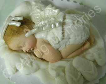 Baby Angel/Edible Cake Toppers Made of Vanilla Fondant and gumpaste, BABY SHOWER, First Birthday boy or girl, Christening, Cake Decorations