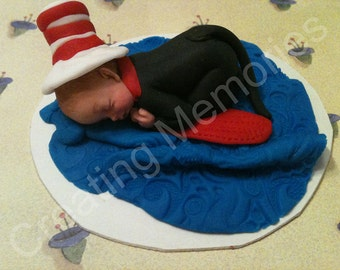 Cat and Hat baby cakle topper, made pf vanilla fondant ready for you! great addition to your home made cakes. Edible Cake Decorations