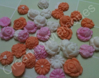 46  Mini Fondant flowers - cupcake toppers - Peach-Pink and White