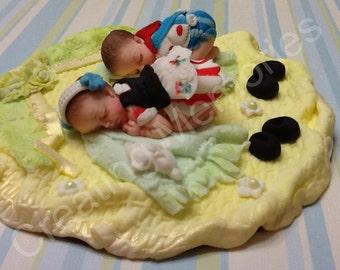 Twin  Babies/ Boys & Girl Cake Topper/ Fondant Cake Topper/Cake Decoration/Edible Cake Topper/Baby Fondant Cake Topper