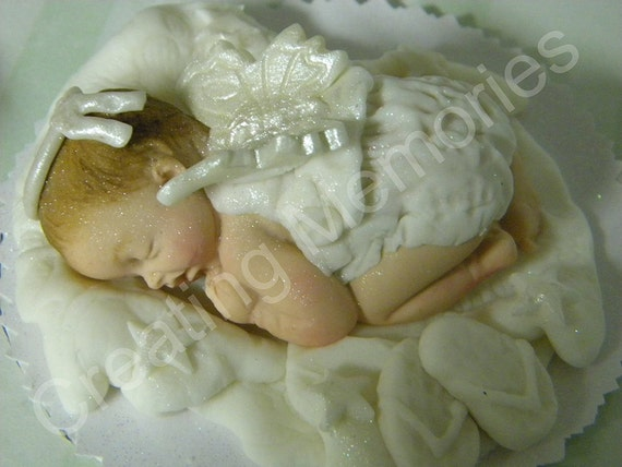 Baby Angel Edible Cake Toppers Made Of Vanilla Fondant And Gumpaste