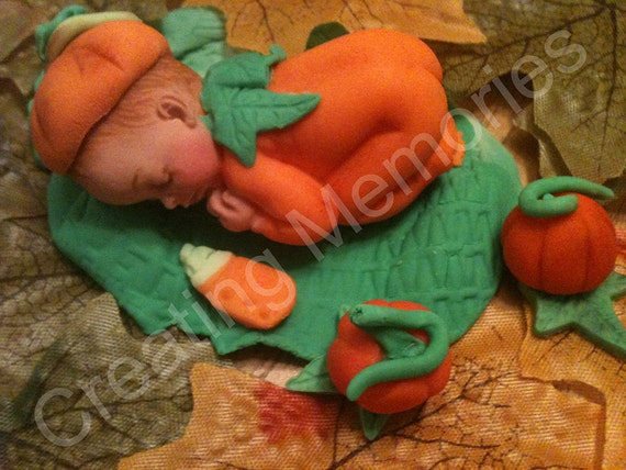 Fondant Pumpkin Baby Cake Topper - made of vanilla fondant ready for the baby shower or any celebration