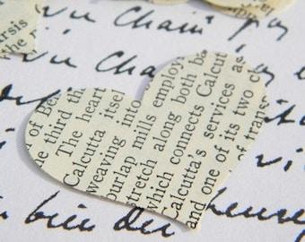 150 Hearts - wedding confetti - paper heart confetti - die cut hearts - vintage heart confetti