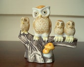 Vintage Owl Momma with her 3 little ones on stump with mushrooms