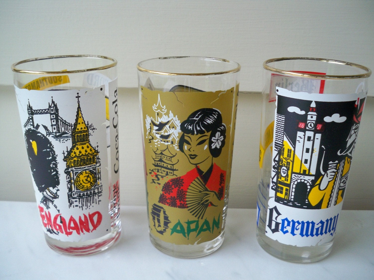 Vintage Drink Coca Cola Japan England Germany Glasses From