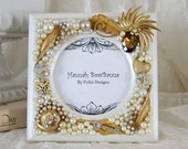 Wedding Frame White Pearls Gold Bling Swarovski Jeweled