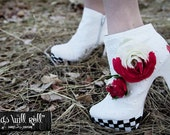 CLEARANCE Heads Will Roll White Hand Painted Bootie