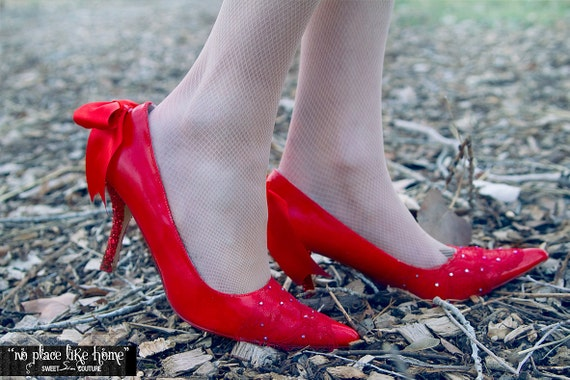 SAMPLE SALE - No Place Like Home Red Hand Painted High Heel with Swarovski Crystals Size 10