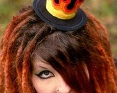 Flaming Mini Top hat Fascinator