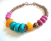 Boho Jewelry, Bangle Bracelet, Gypsy Bracelet, Colorful Jewelry, Ethnic Bracelet, Turquoise Bracelet, Statement Jewelry