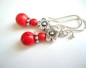 25% OFF SALE - Simple Stone Earrings, Red Coral Earrings, Christmas Earrings, Beaded Earrings