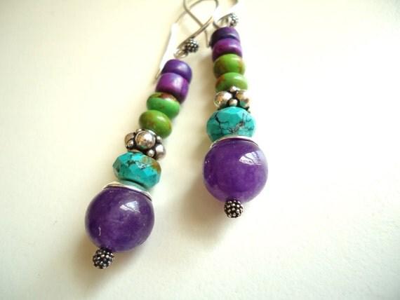 SALE - Turquoise Earrings, Stack Earrings, Boho Chic Earrings, Sterling Silver, Purple Green Earrings, Hippie Earrings