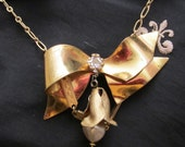 French gold bow Jewelry  Pin  ribbon french looking necklace assemblage eiffel tower charm dangle