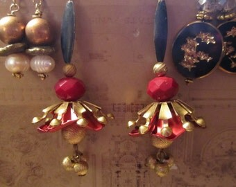 Your pick vintage dangles long stunning old Assemblage earrings OOAK elegant steampunk look roses chinese black gold leaves