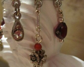 french charm rhinestone connector assemblage earrings polished garnets sterling silver flower rondelles dangles stunning earrings OOAK