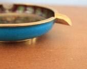 Cloisonné Ashtray With Blue Enamel Base - Vintage