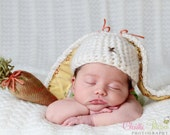 Crocheted Baby Bunny Hat - Newborn Photo Prop - Easter Bunny Hat - Floppy Ears - Girl Or Boy - Size NEWBORN - Easter
