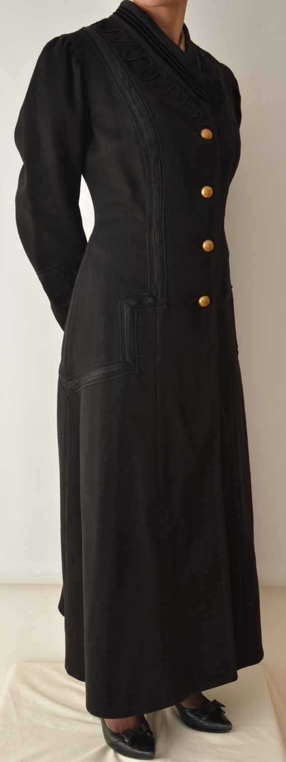 1930s Black Vintage Military Inspired Swing Coat