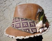 Funky Feather Fedora with Shells UpCycled by Finkelhoo