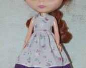 Dress for Blythe - Purple Eyelet Dress