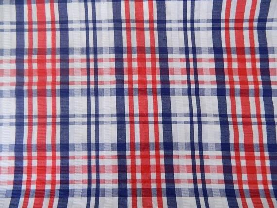 Vintage 70s Plaid Seersucker Fabric ....... Summertime Hues ... 1 1/2 Yards