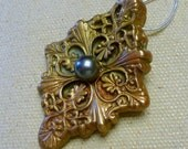 Handcrafted Bronze PMC Pendant with Natural Freshwater Pearl