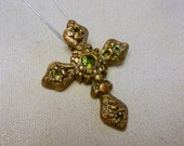 Handcrafted Bronze PMC Pendant with Natural Peridot Gemstones