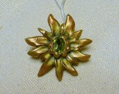 Handcrafted Bronze PMC Flower/ Sun Pendant with Natural Peridot Gemstone