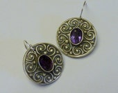 Handcrafted Fine Silver PMC Earrings with Natural Amethyst Gemstones
