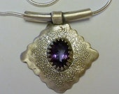 Fine Silver (PMC) Artisan Crafted Pendant with Natural Topaz