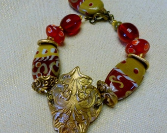 Handcrafted Bronze PMC Bracelet with Gold & Red Handmade Lampwork Beads