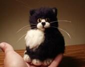 Artist Needle Felted Bobtail Tuxedo Cat Sculpture OOaK Bobby Kitty