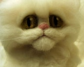 Artist Needle Felted Persian Kitten Cat Sculpture - Marshmallow