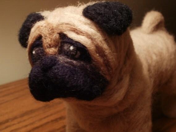 Needle Felted Dog Pug Dog Sculpture - Stevie - OOaK - Artist Soft Sculpture