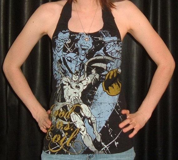 Vintage looking BATMAN diy shirt womens halter top tank by ...