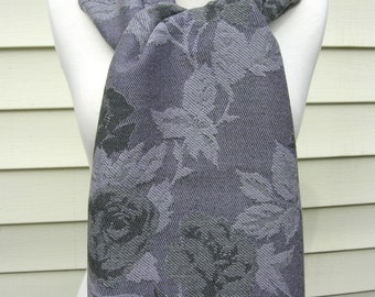 Floral Lambswool Oblong Scarf/Shawl, made in Great Britain