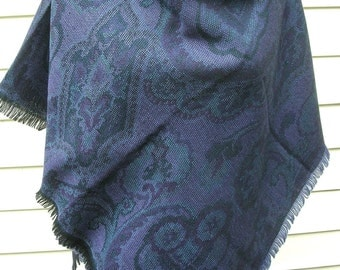 Patterned Paisley/Floral Shawl, Blue/Purple, Square Fashion Shawl, wool or blend