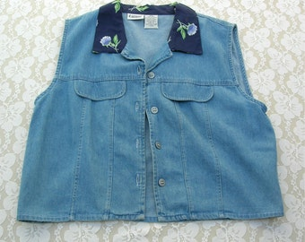 Vintage Denim Vest with Navy Floral Collar, sz M-L, wear with or without T-shirt or blouse