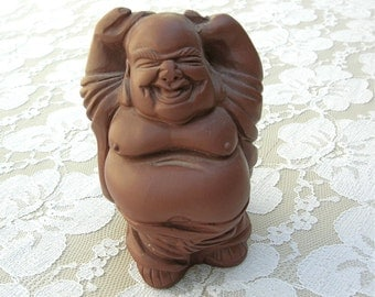 Happy Buddha Small Figurine, famous Chinese Yixing clay